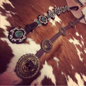 Western black tony lama concho belt